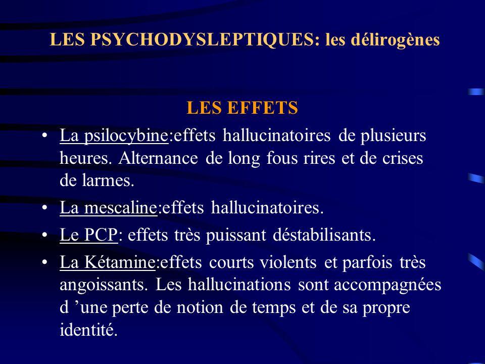 LES PSYCHODYSLEPTIQUES: les délirogènes LES EFFETS La psilocybine:effets hallucinatoires de plusieurs heures. Alternance de long fous rires et de cris