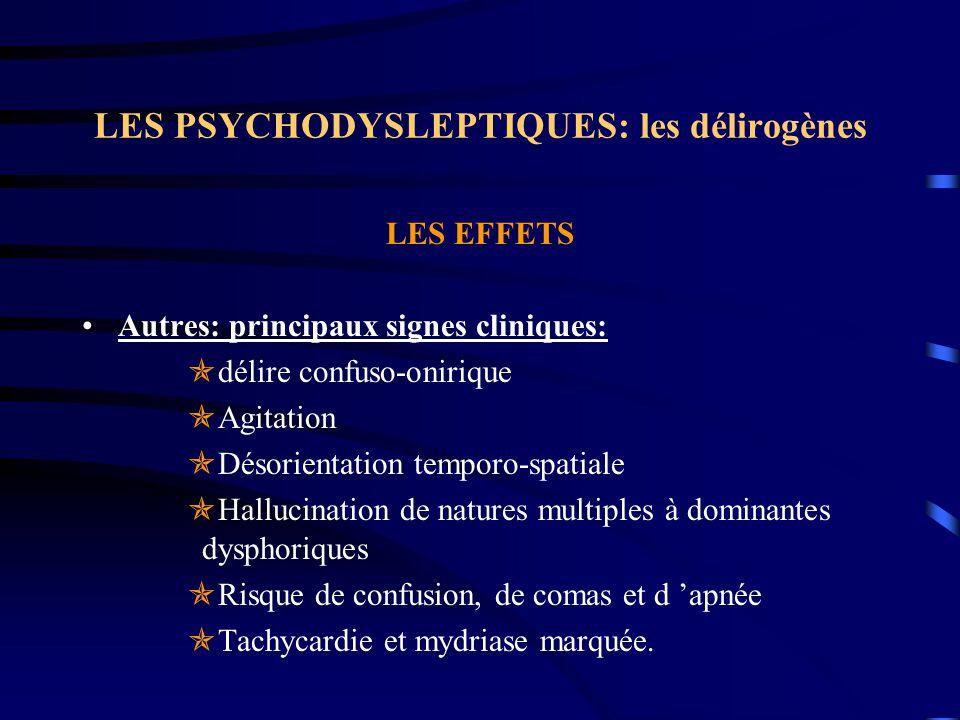 LES PSYCHODYSLEPTIQUES: les délirogènes LES EFFETS Autres: principaux signes cliniques:  délire confuso-onirique  Agitation  Désorientation temporo