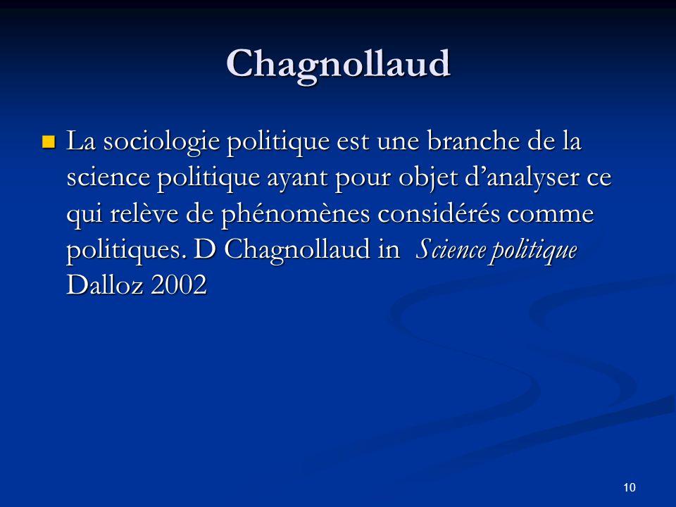 10 Chagnollaud La sociologie politique est une branche de la science politique ayant pour objet d'analyser ce qui relève de phénomènes considérés comm