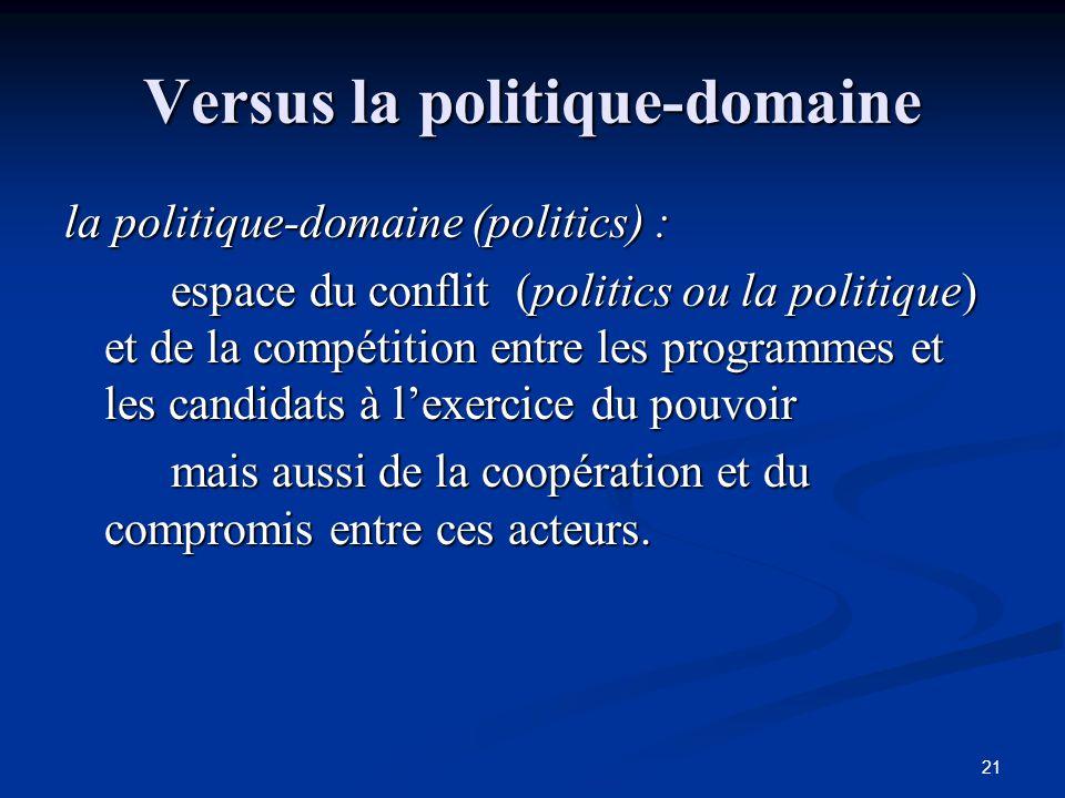 21 Versus la politique-domaine la politique-domaine (politics) : espace du conflit (politics ou la politique) et de la compétition entre les programme