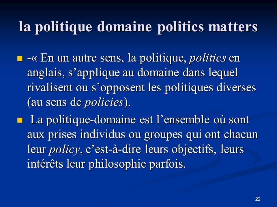 22 la politique domaine politics matters -« En un autre sens, la politique, politics en anglais, s'applique au domaine dans lequel rivalisent ou s'opp