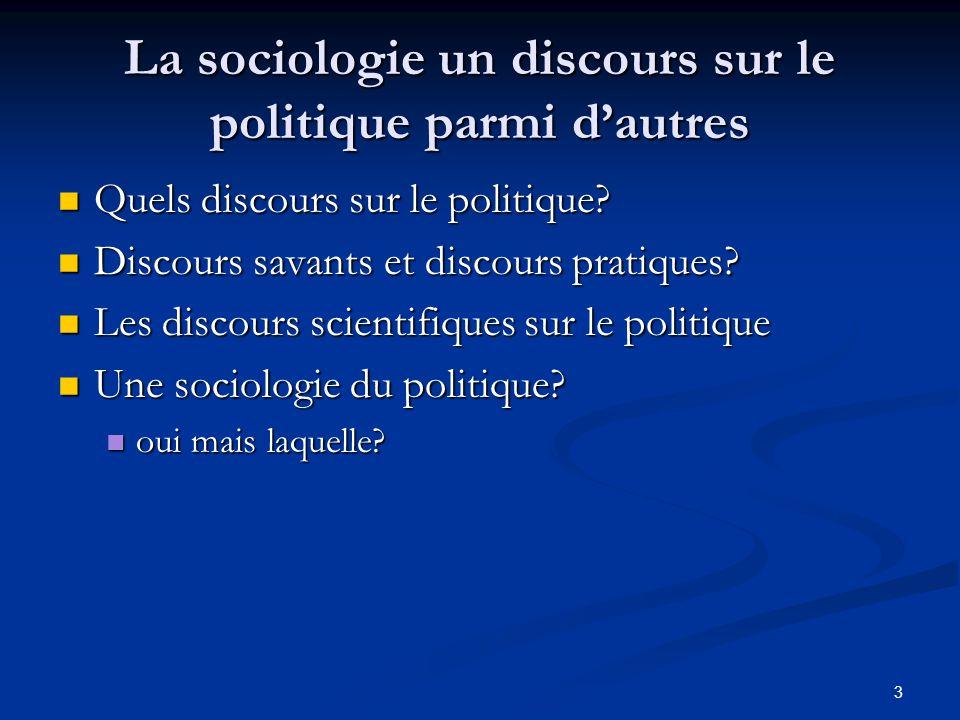 3 La sociologie un discours sur le politique parmi d'autres Quels discours sur le politique? Quels discours sur le politique? Discours savants et disc