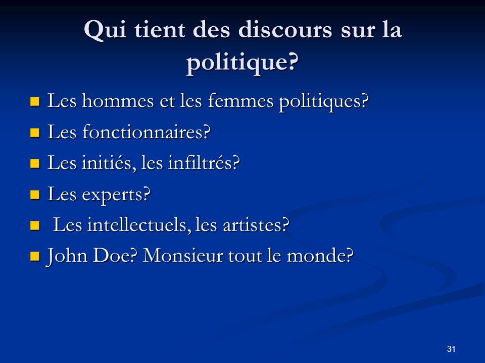 31 Qui tient des discours sur la politique? Les hommes et les femmes politiques? Les hommes et les femmes politiques? Les fonctionnaires? Les fonction