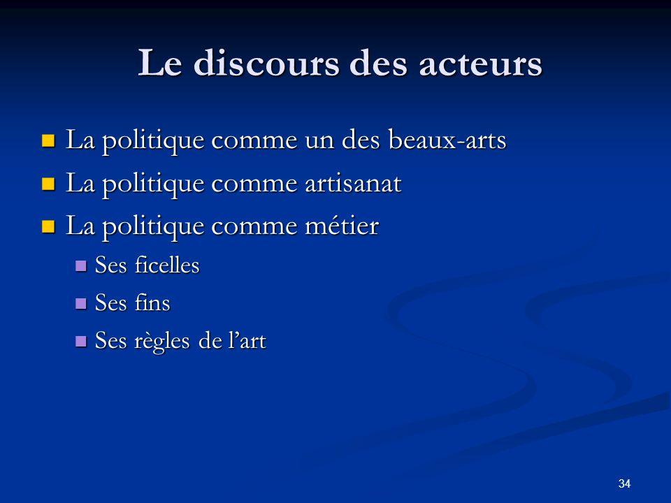 34 Le discours des acteurs Le discours des acteurs La politique comme un des beaux-arts La politique comme un des beaux-arts La politique comme artisa