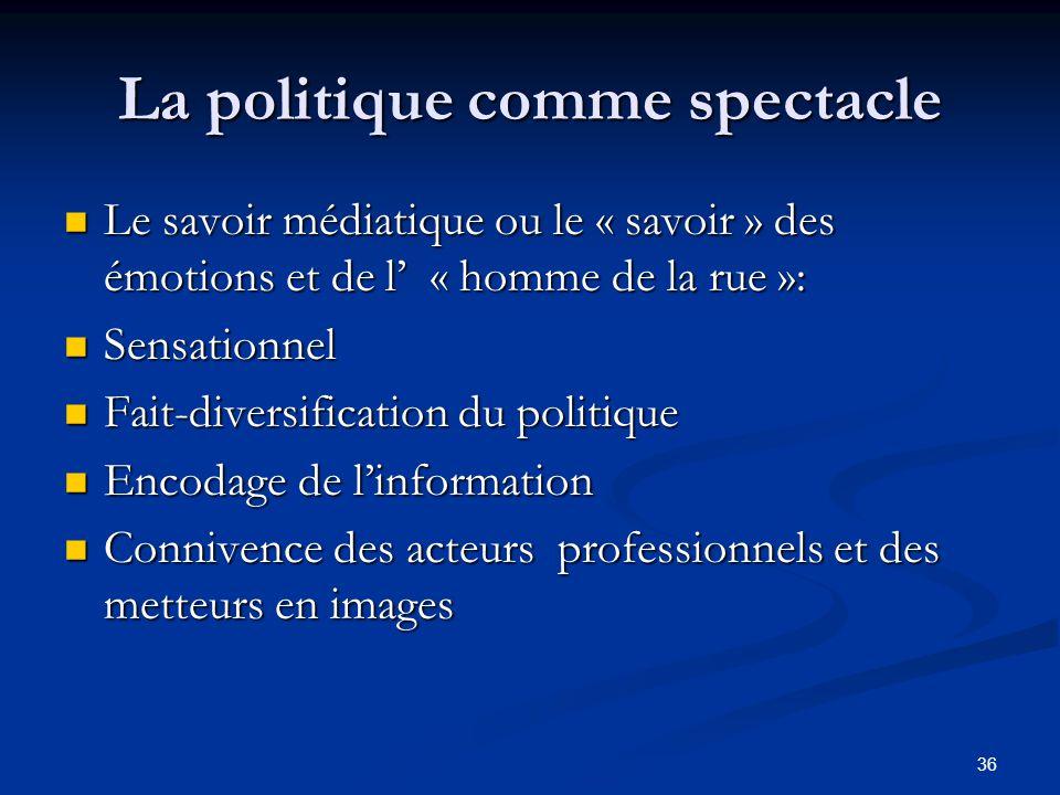 36 La politique comme spectacle Le savoir médiatique ou le « savoir » des émotions et de l' « homme de la rue »: Le savoir médiatique ou le « savoir »