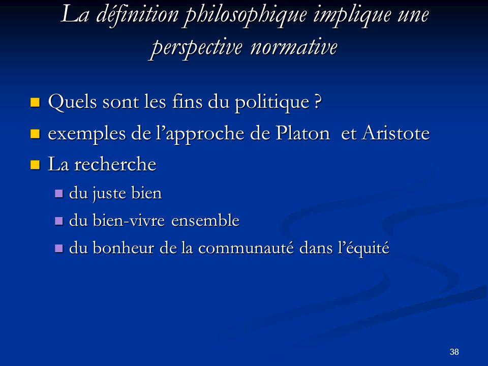 38 La définition philosophique implique une perspective normative Quels sont les fins du politique ? Quels sont les fins du politique ? exemples de l'