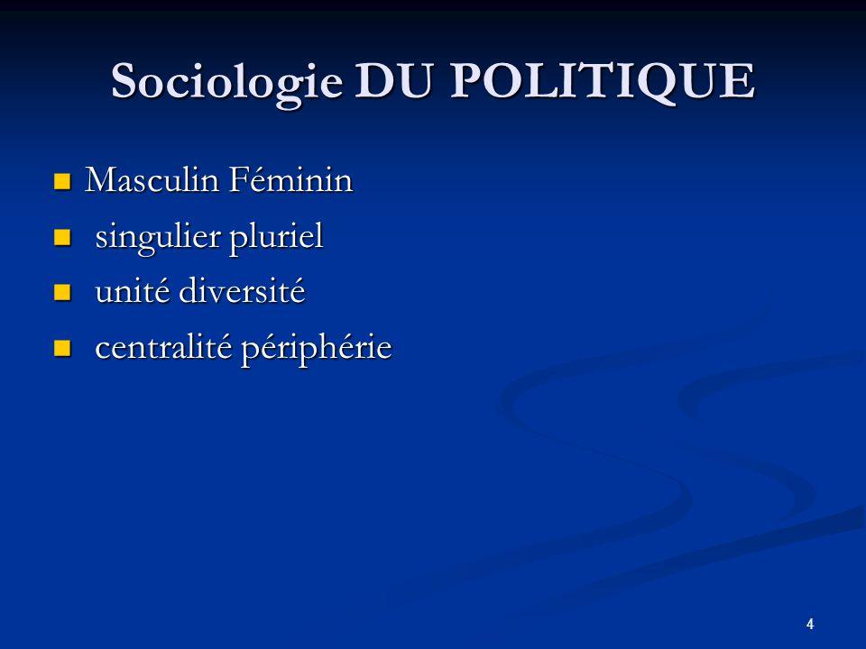 4 Sociologie DU POLITIQUE Masculin Féminin Masculin Féminin singulier pluriel singulier pluriel unité diversité unité diversité centralité périphérie