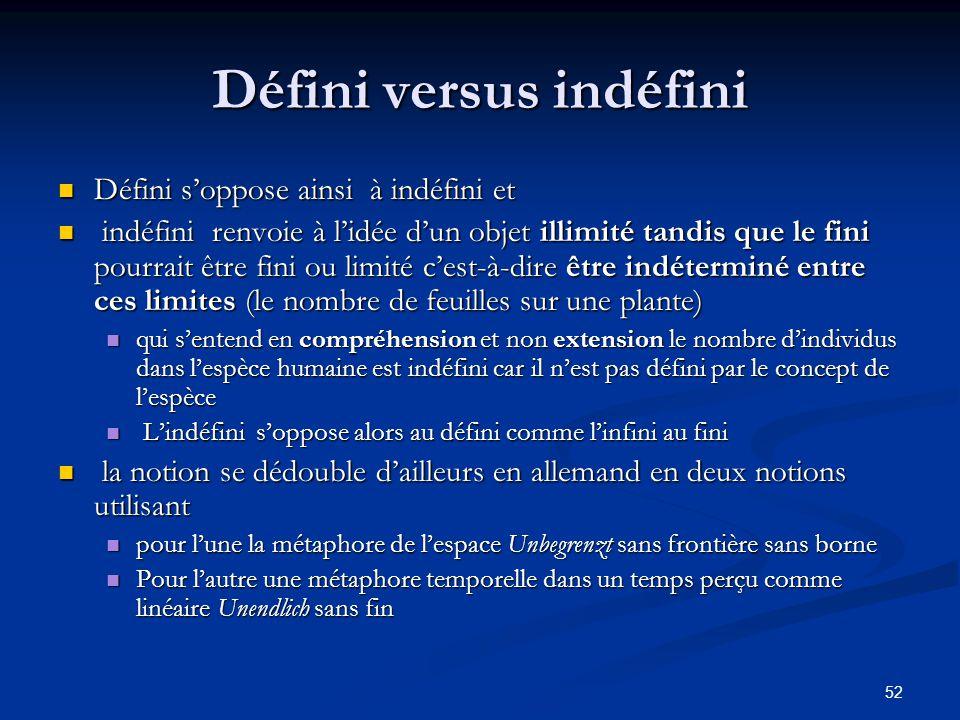 52 Défini versus indéfini Défini s'oppose ainsi à indéfini et Défini s'oppose ainsi à indéfini et indéfini renvoie à l'idée d'un objet illimité tandis