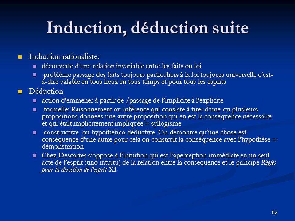 62 Induction, déduction suite Induction rationaliste: Induction rationaliste: découverte d'une relation invariable entre les faits ou loi découverte d