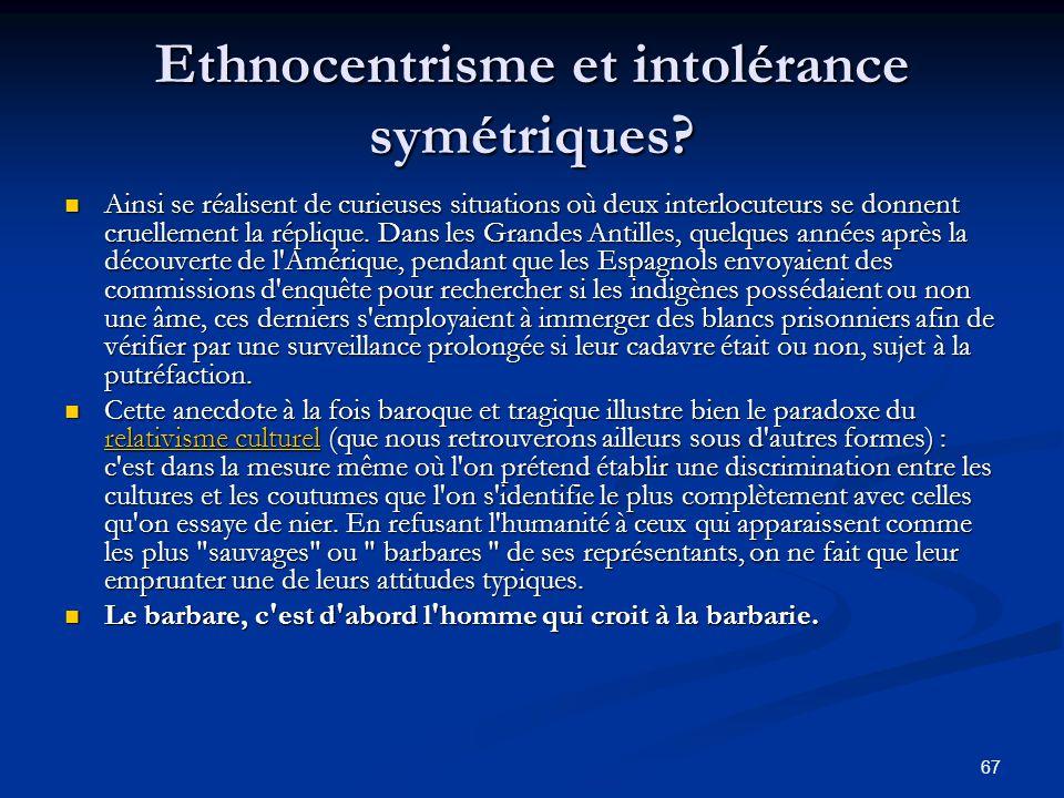 67 Ethnocentrisme et intolérance symétriques? Ainsi se réalisent de curieuses situations où deux interlocuteurs se donnent cruellement la réplique. Da