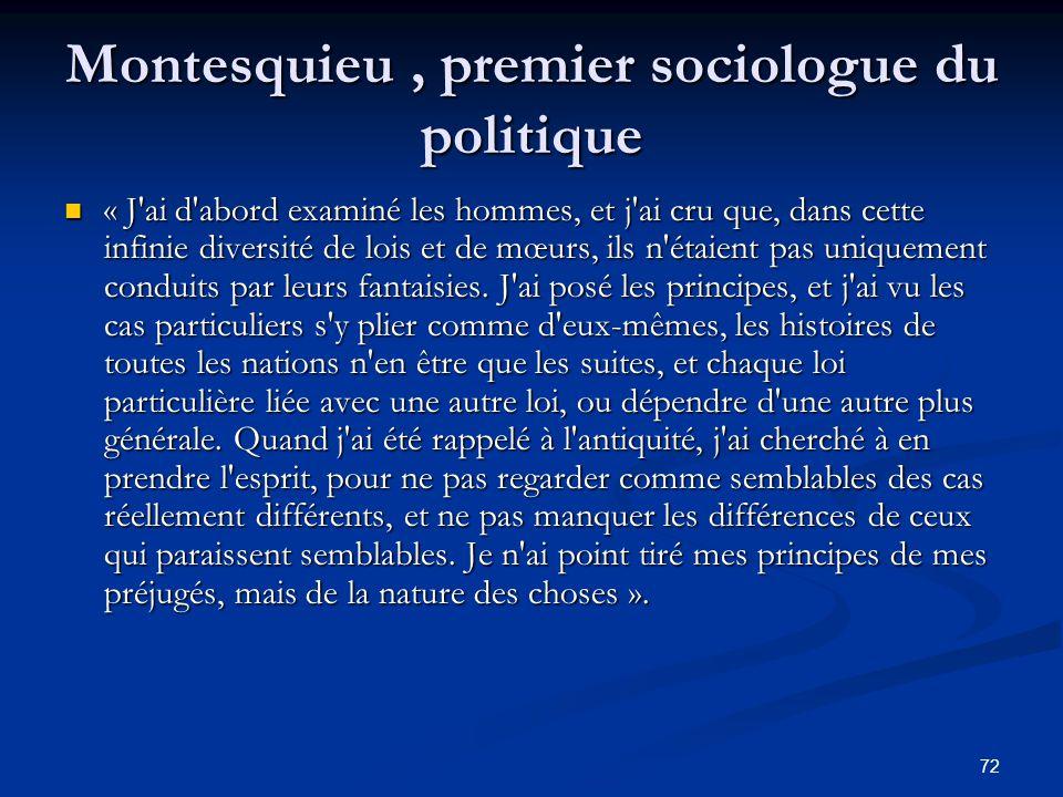 72 Montesquieu, premier sociologue du politique « J'ai d'abord examiné les hommes, et j'ai cru que, dans cette infinie diversité de lois et de mœurs,