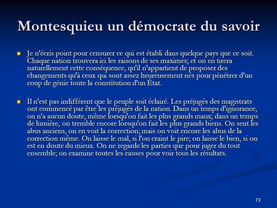 73 Montesquieu un démocrate du savoir Je n'écris point pour censurer ce qui est établi dans quelque pays que ce soit. Chaque nation trouvera ici les r
