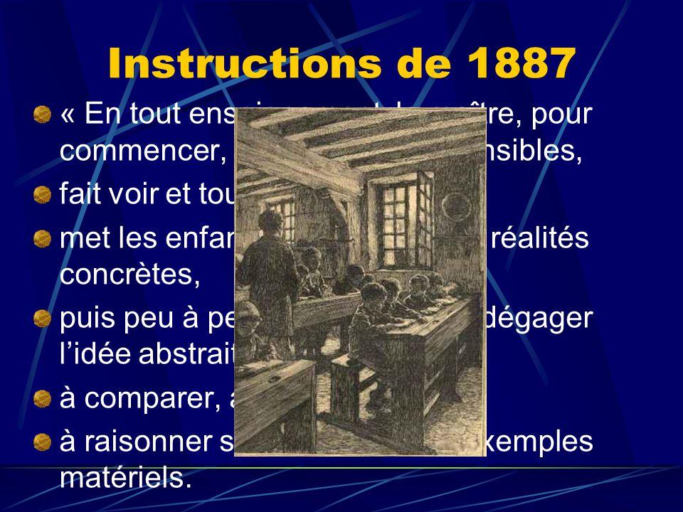 Instructions de 1887 « En tout enseignement, le maître, pour commencer, se sert d'objets sensibles, fait voir et toucher les choses, met les enfants e