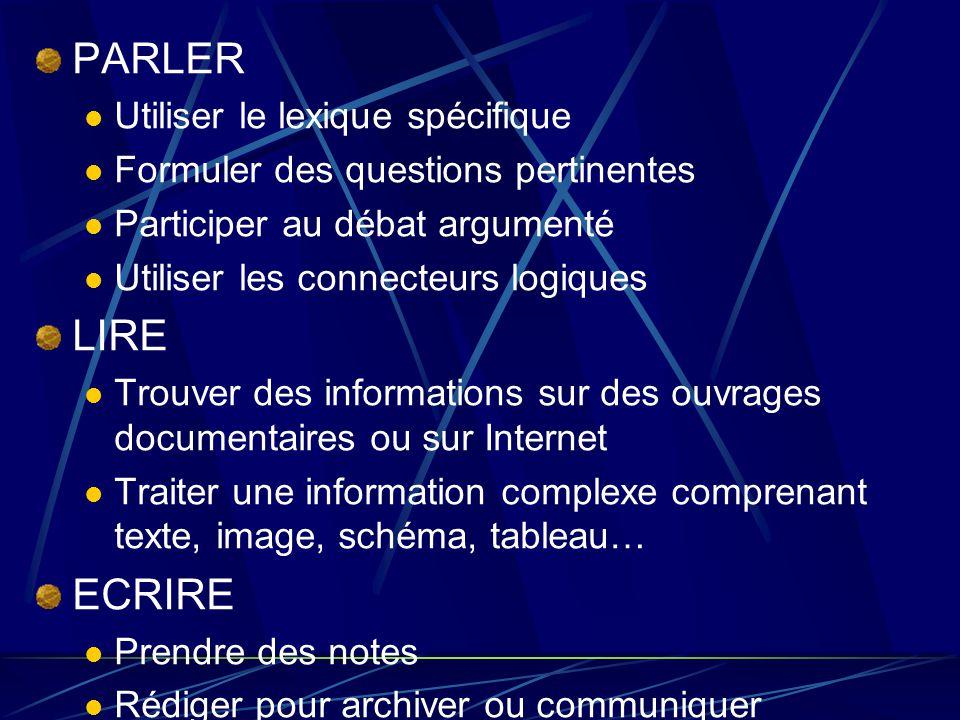 PARLER Utiliser le lexique spécifique Formuler des questions pertinentes Participer au débat argumenté Utiliser les connecteurs logiques LIRE Trouver