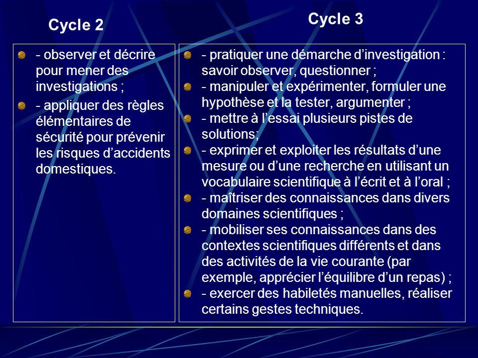 Cycle 2 - observer et décrire pour mener des investigations ; - appliquer des règles élémentaires de sécurité pour prévenir les risques d'accidents do