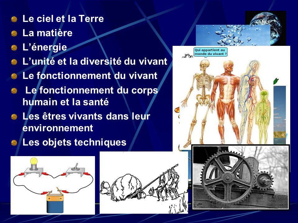 Le ciel et la Terre La matière L'énergie L'unité et la diversité du vivant Le fonctionnement du vivant Le fonctionnement du corps humain et la santé L