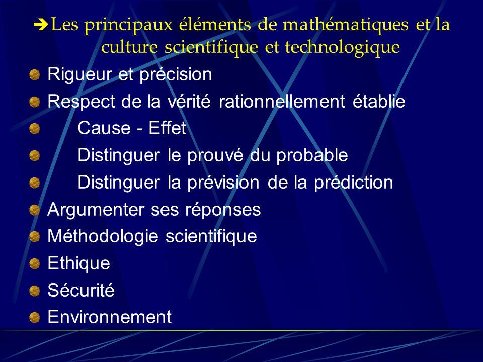  Les principaux éléments de mathématiques et la culture scientifique et technologique Rigueur et précision Respect de la vérité rationnellement établ