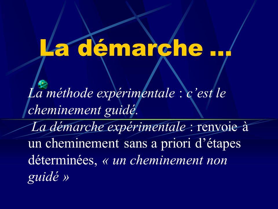La démarche expérimentale n'est qu'un aspect d'une démarche plus englobante : la démarche scientifique.