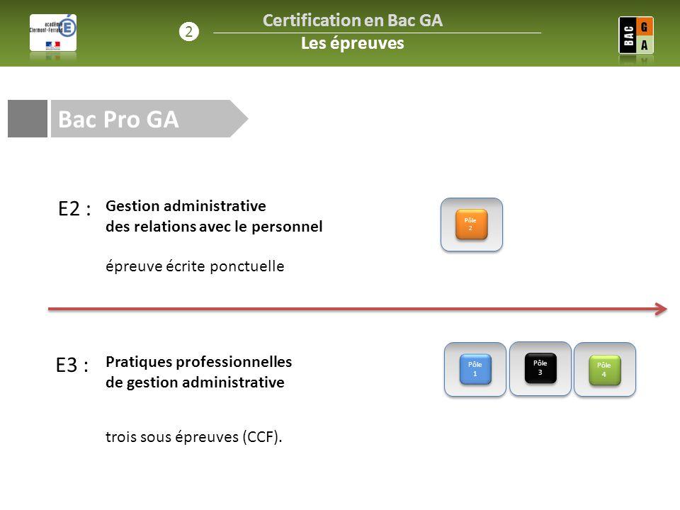 E3 : Bac Pro GA Pôle 1 Pôle 2 Pôle 3 Pôle 4 Certification en Bac GA Les épreuves ❷ Gestion administrative des relations avec le personnel Pratiques pr
