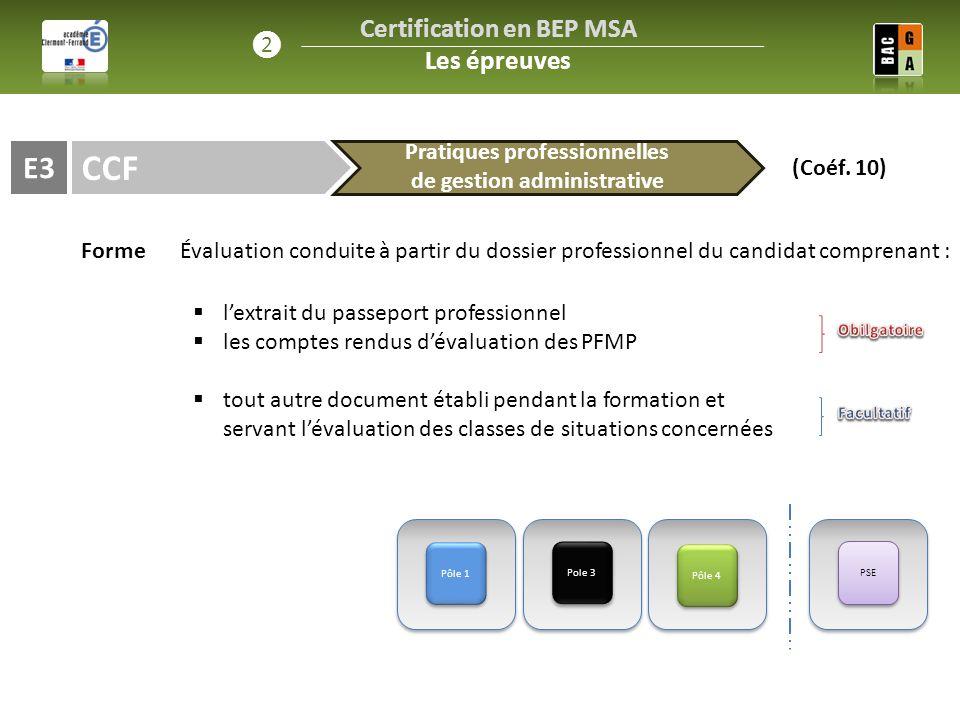 CCF E3 FormeÉvaluation conduite à partir du dossier professionnel du candidat comprenant : Pôle 1 Pole 3  l'extrait du passeport professionnel  les