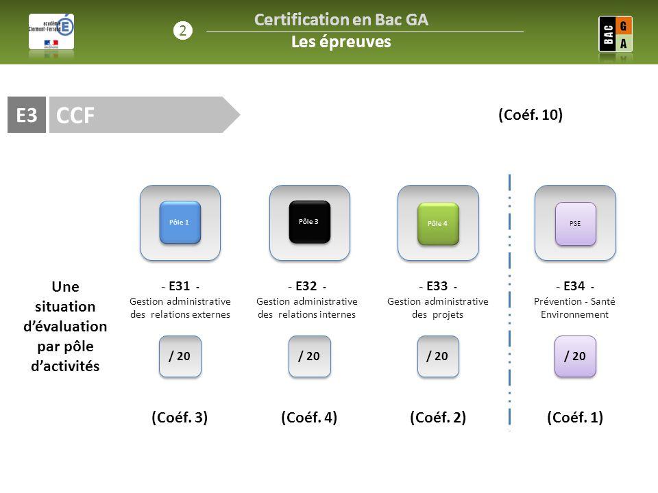 CCF E3 / 20 (Coéf. 3) Pôle 1 Pôle 3 Pôle 4 - E31 - Gestion administrative des relations externes Une situation d'évaluation par pôle d'activités - E32