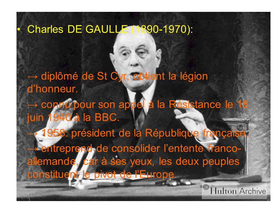 Charles DE GAULLE (1890-1970): → diplômé de St Cyr, obtient la légion d'honneur. → connu pour son appel à la Résistance le 18 juin 1940 à la BBC. → 19