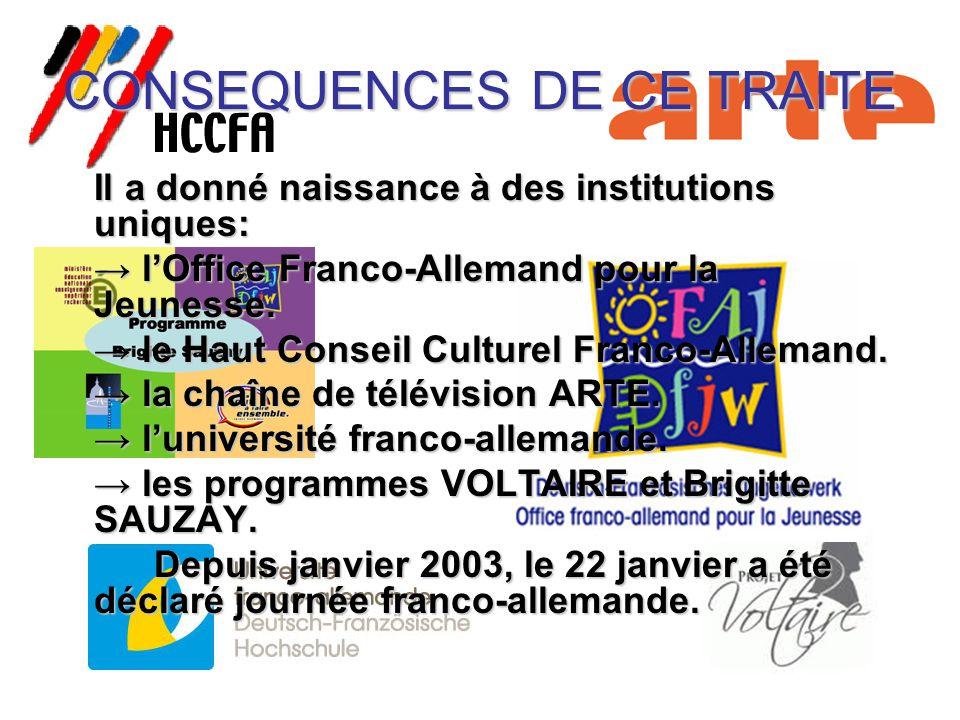 CONSEQUENCES DE CE TRAITE Il a donné naissance à des institutions uniques: → l'Office Franco-Allemand pour la Jeunesse. → le Haut Conseil Culturel Fra