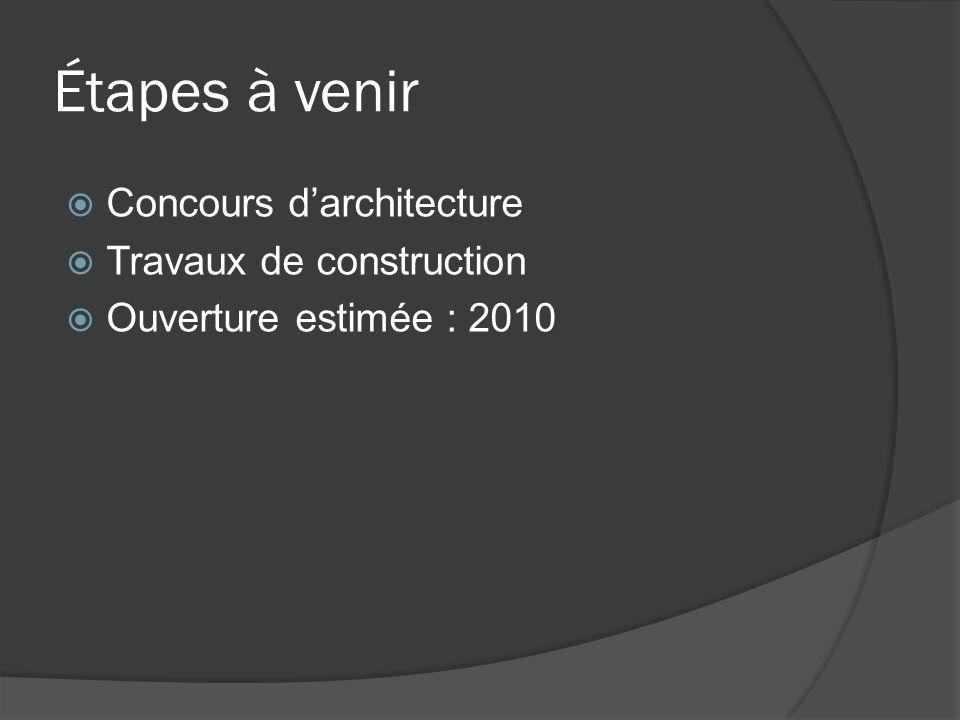 Étapes à venir  Concours d'architecture  Travaux de construction  Ouverture estimée : 2010