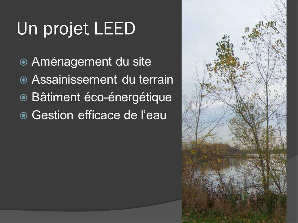 Un projet LEED  Aménagement du site  Assainissement du terrain  Bâtiment éco-énergétique  Gestion efficace de l'eau
