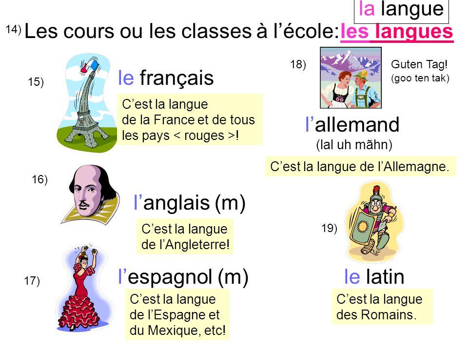 14) Les cours ou les classes à l'école: 15) le français 16) l'anglais (m) l'espagnol (m)le latin l'allemand (lal uh mãhn) 17) 18)Guten Tag.