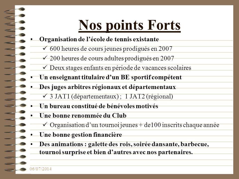 Nos points Forts Organisation de l'école de tennis existante 600 heures de cours jeunes prodigués en 2007 200 heures de cours adultes prodigués en 200