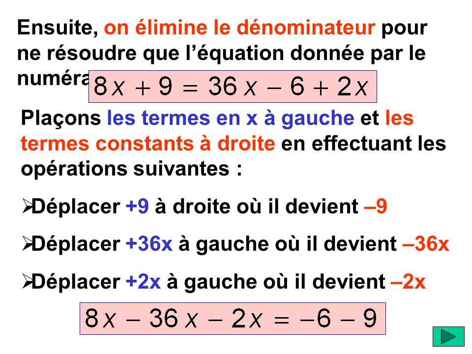 Ensuite, on élimine le dénominateur pour ne résoudre que l'équation donnée par le numérateur. Plaçons les termes en x à gauche et les termes constants