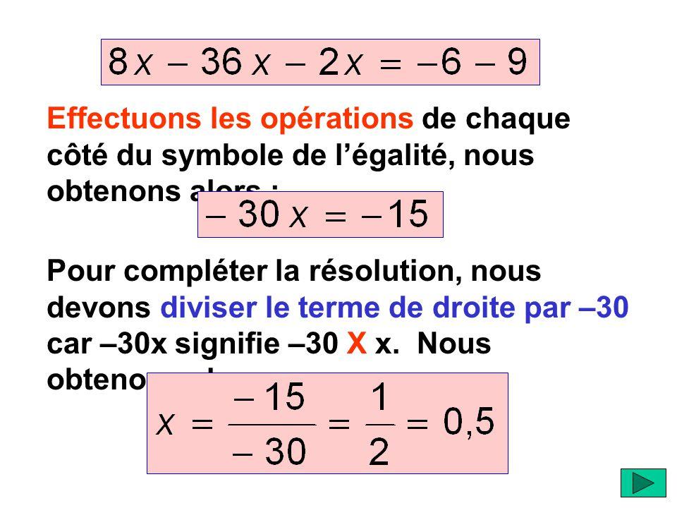 Effectuons les opérations de chaque côté du symbole de l'égalité, nous obtenons alors : Pour compléter la résolution, nous devons diviser le terme de