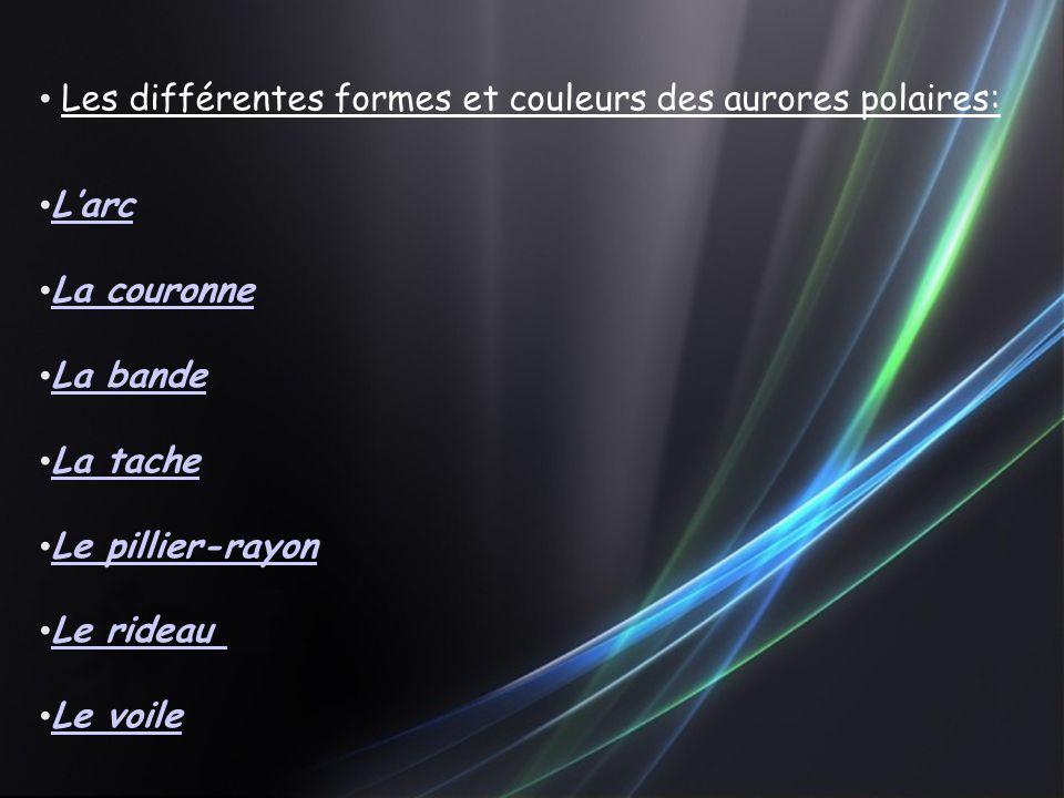 Les différentes formes et couleurs des aurores polaires: L'arc La couronne La bande La tache Le pillier-rayon Le rideau Le voile