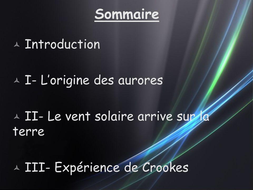 Sommaire  Introduction  I- L'origine des aurores  II- Le vent solaire arrive sur la terre  III- Expérience de Crookes