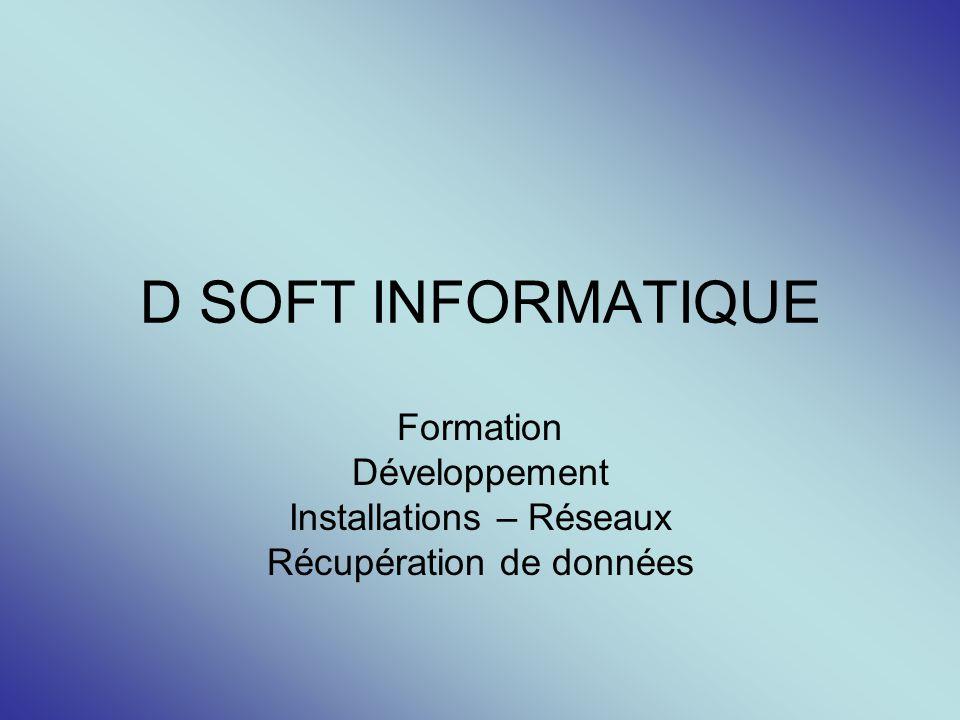D SOFT INFORMATIQUE Formation Développement Installations – Réseaux Récupération de données