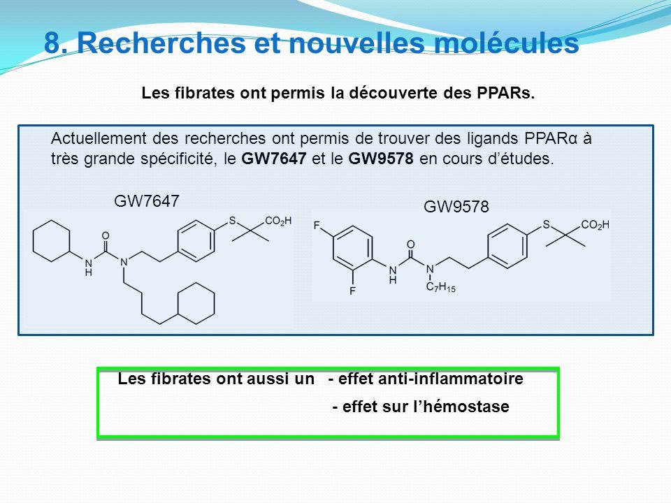 Les fibrates ont aussi un - effet anti-inflammatoire - effet sur l'hémostase Actuellement des recherches ont permis de trouver des ligands PPARα à très grande spécificité, le GW7647 et le GW9578 en cours d'études.