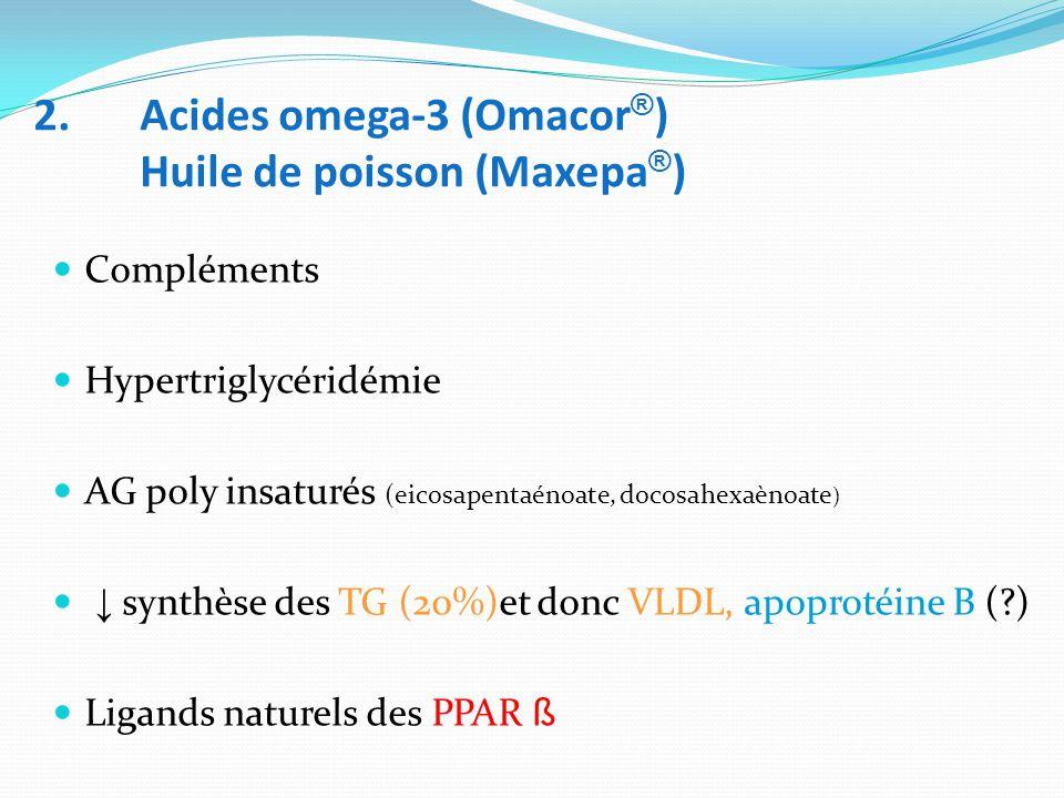 2. Acides omega-3 (Omacor ® ) Huile de poisson (Maxepa ® ) Compléments Hypertriglycéridémie AG poly insaturés (eicosapentaénoate, docosahexaènoate ) ↓