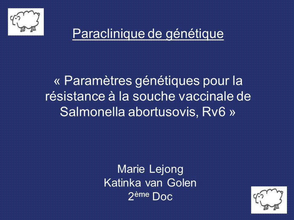 Paraclinique de génétique « Paramètres génétiques pour la résistance à la souche vaccinale de Salmonella abortusovis, Rv6 » Marie Lejong Katinka van G