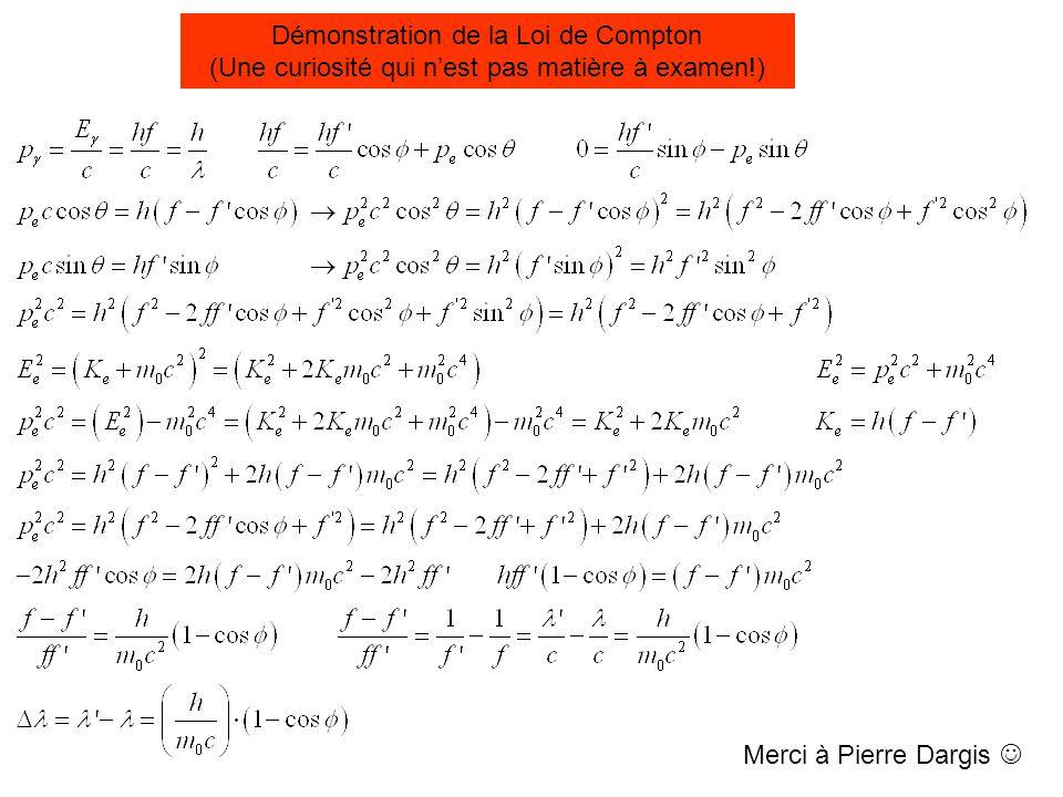 Démonstration de la Loi de Compton (Une curiosité qui n'est pas matière à examen!) Merci à Pierre Dargis