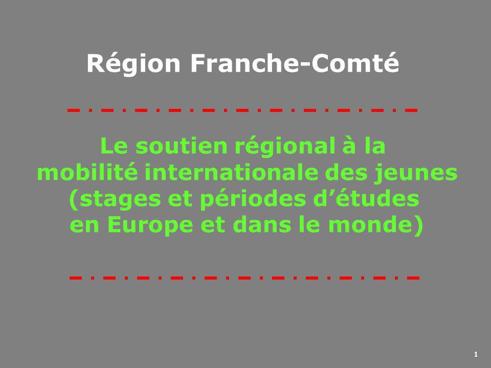 1 Le soutien régional à la mobilité internationale des jeunes (stages et périodes d'études en Europe et dans le monde) Région Franche-Comté