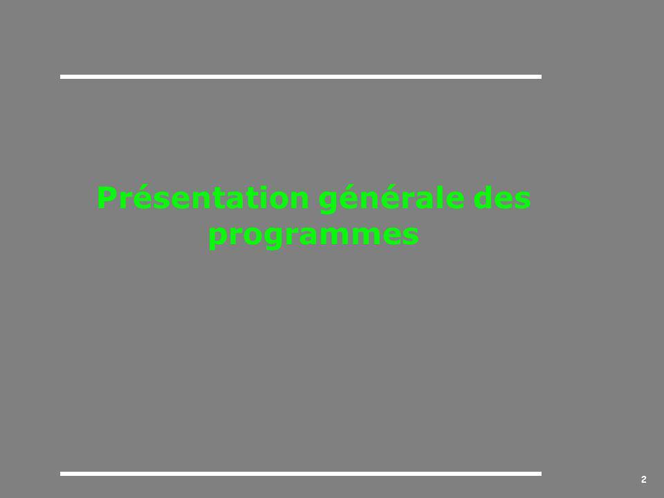 2 Présentation générale des programmes