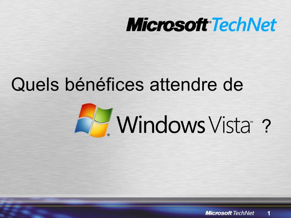 32 Fonctionnalités de sécurité d'IE7 Défense contre les vulnérabilités –Consentement explicite pour l'exécution des ActiveX –Parsing unifié des URL –Amélioration de la sécurité inter-domaines –Amélioration de la qualité du code pour réduire le nombre de buffer overruns –Mode protégé (Windows Vista seulement) Défense contre les téléchargements et les sites web trompeurs –Analyse des téléchargements au moyen de Windows Defender –Filtre anti-phishing –Sécurisation du paramétrage par défaut pour le support des IDN (International Domain Names) –Haut niveau d'assurance SSL et barre d'adresses –Alerte en cas de paramétrage dangereux –Contrôle parental (Windows Vista seulement) 32