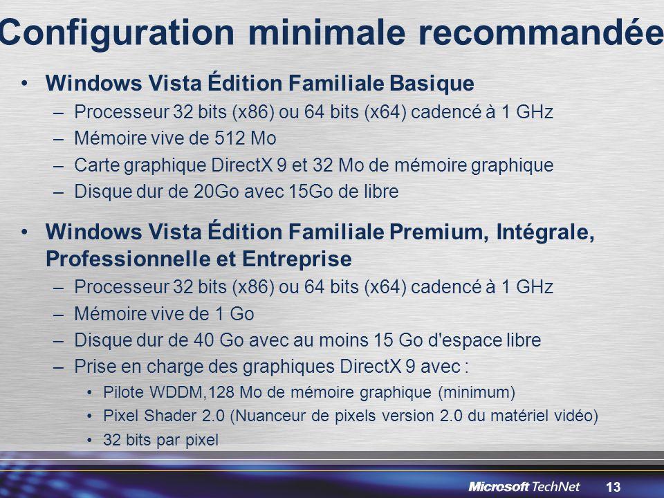 13 Configuration minimale recommandée Windows Vista Édition Familiale Basique –Processeur 32 bits (x86) ou 64 bits (x64) cadencé à 1 GHz –Mémoire vive de 512 Mo –Carte graphique DirectX 9 et 32 Mo de mémoire graphique –Disque dur de 20Go avec 15Go de libre Windows Vista Édition Familiale Premium, Intégrale, Professionnelle et Entreprise –Processeur 32 bits (x86) ou 64 bits (x64) cadencé à 1 GHz –Mémoire vive de 1 Go –Disque dur de 40 Go avec au moins 15 Go d espace libre –Prise en charge des graphiques DirectX 9 avec : Pilote WDDM,128 Mo de mémoire graphique (minimum) Pixel Shader 2.0 (Nuanceur de pixels version 2.0 du matériel vidéo) 32 bits par pixel
