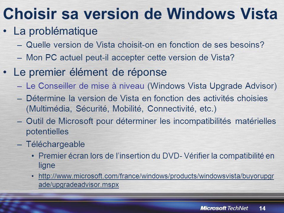 14 Choisir sa version de Windows Vista La problématique –Quelle version de Vista choisit-on en fonction de ses besoins.