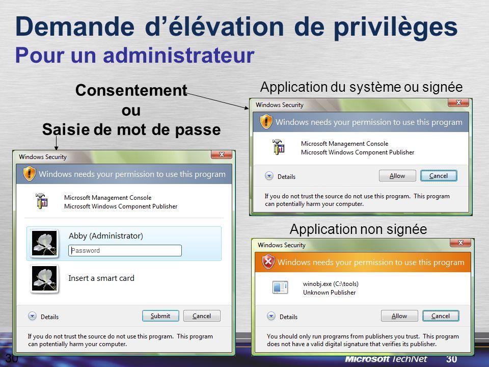 30 Demande d'élévation de privilèges Pour un administrateur 30 Application du système ou signée Application non signée Consentement ou Saisie de mot de passe