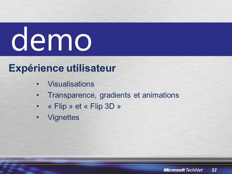37 Expérience utilisateur Visualisations Transparence, gradients et animations « Flip » et « Flip 3D » Vignettes