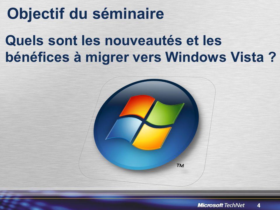 4 Objectif du séminaire Quels sont les nouveautés et les bénéfices à migrer vers Windows Vista ?