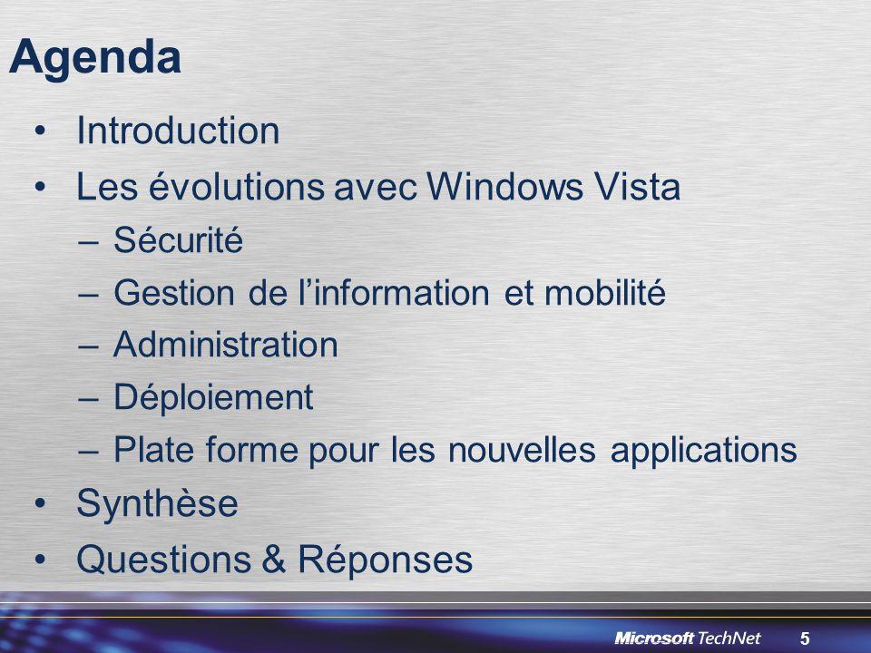 5 Agenda Introduction Les évolutions avec Windows Vista –Sécurité –Gestion de l'information et mobilité –Administration –Déploiement –Plate forme pour les nouvelles applications Synthèse Questions & Réponses