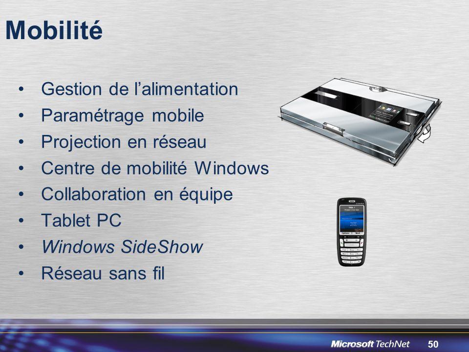 50 Mobilité Gestion de l'alimentation Paramétrage mobile Projection en réseau Centre de mobilité Windows Collaboration en équipe Tablet PC Windows SideShow Réseau sans fil